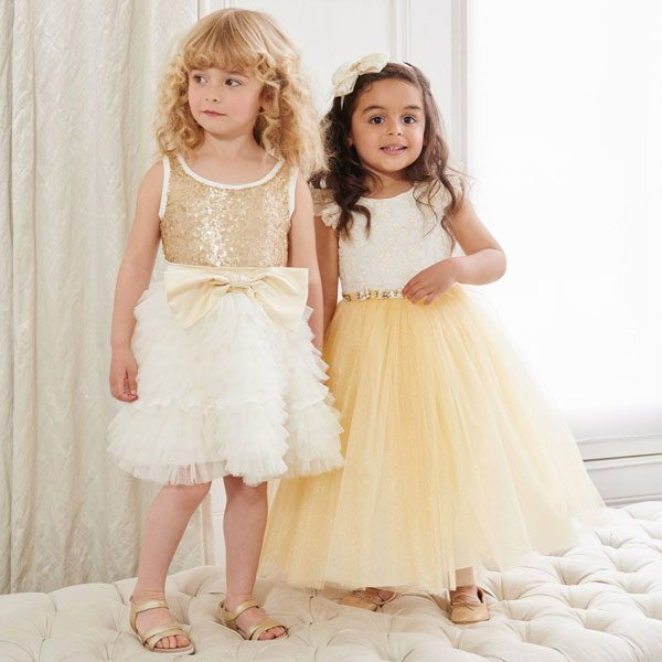 Monnalisa Chic Gold Sequin & Tulle Dress