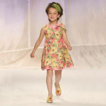 Quis Quis Pink Lace Floral Knee Length Dress