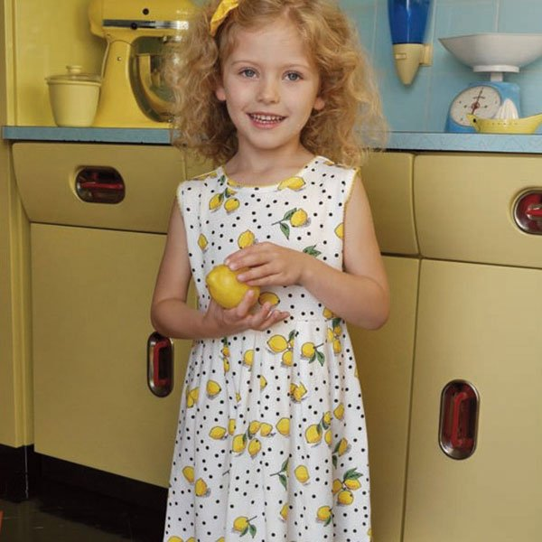 Rachel Riley Ivory Lemon Print Cotton Dress