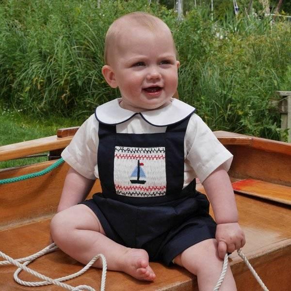 Rachel Riley Navy Blue Sailboat Smocked Dungarees