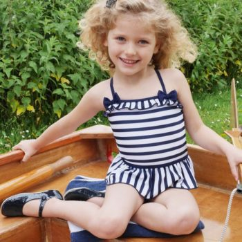 Rachel Riley Navy Blue & White Striped Swimsuit