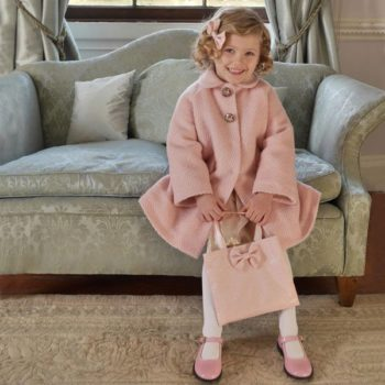 Rachel Riley Pink Boucle Wool Coat