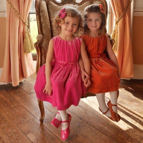 Rachel Riley Pink Silk Velvet Dress