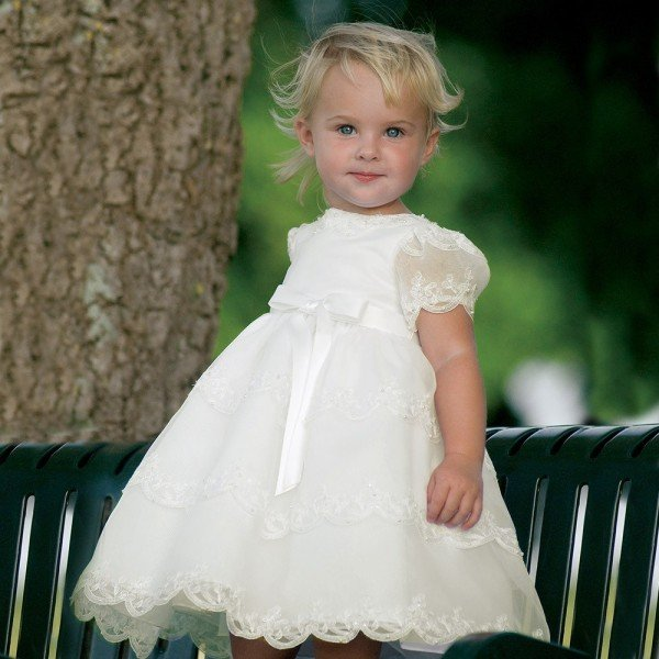 Sarah Louise Girls Ivory Organza Occasion Dress with Beads & Floral Embroidery