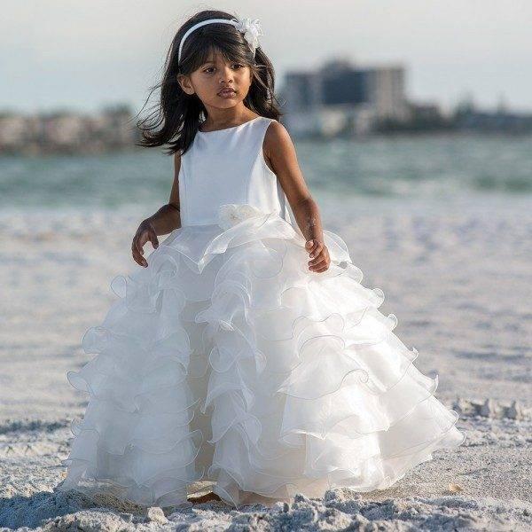 Sarah Louise Ivory Sleeveless Ruffle Dress