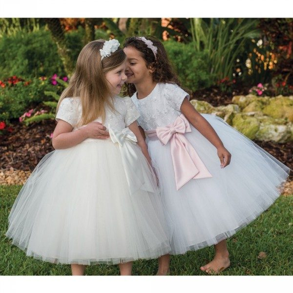 Sarah Louise White Tulle Ballerina Length Dress & Pink Belt