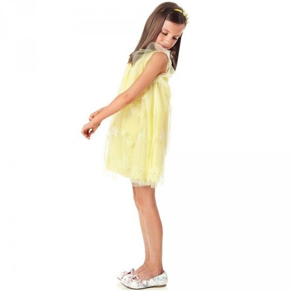 Simonetta Yellow Sleeveless Dress with Floral Embroidery