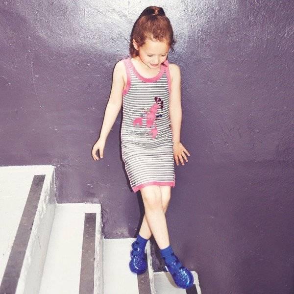 Sonia Rykiel Enfant Black & White Striped Jersey Lobster Dress
