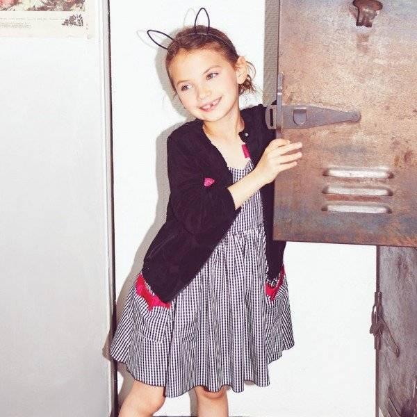 Sonia Rykiel Enfant Gingham Print & Pink Ribbon Dress