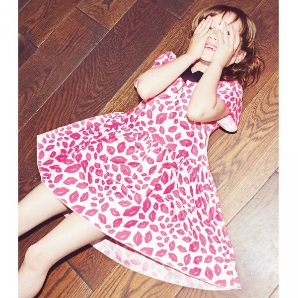 Sonia Rykiel Enfant Pink Cotton Dress with Lips
