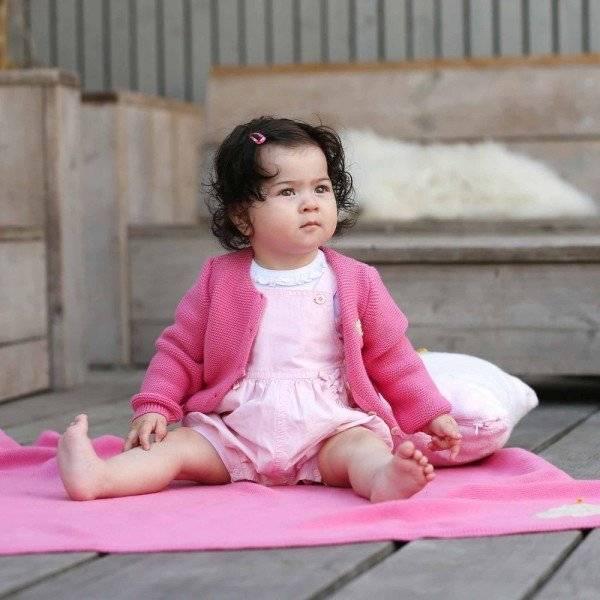 Steiff Baby Girls Pink Cotton Dungaree Shorts