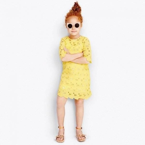 Stella McCartney Kids Yellow Broderie Anglaise Heart 'Ettie' Dress