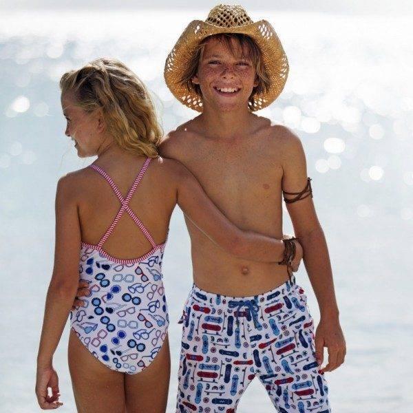 Sunuva Girls Blue Sunglasses Swimsuit