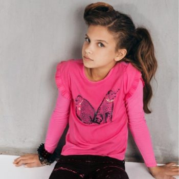 SuperTrash Girls Girls Pink 'Tali' Leopard Top
