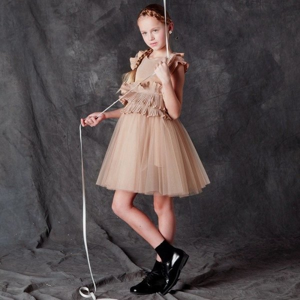 Suzanne Ermann Girls Gold Tulle Dress