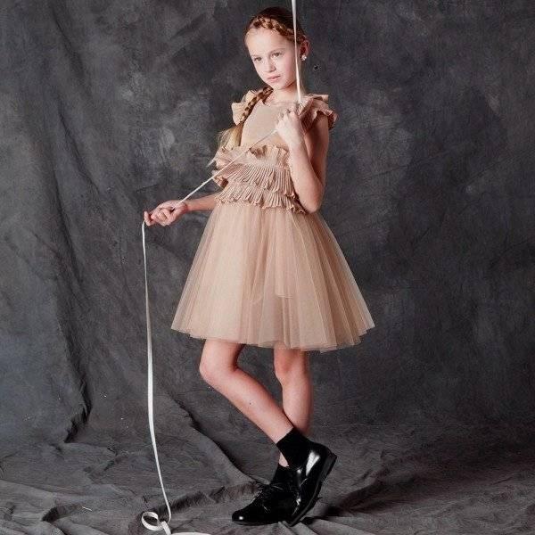 Suzanne Ermann Girls Gold Tulle Dress