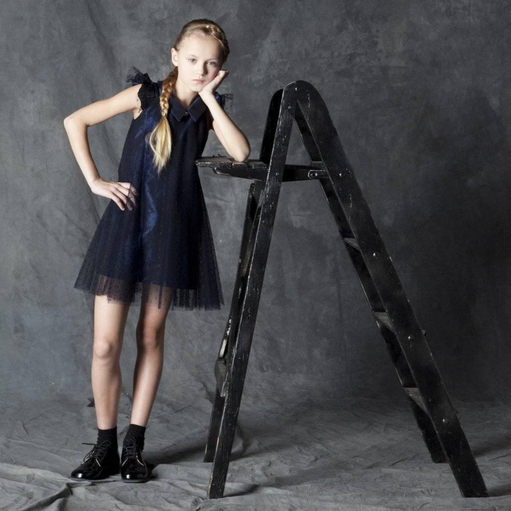 Suzanne Ermann Navy Blue Taffeta and Tulle Dress