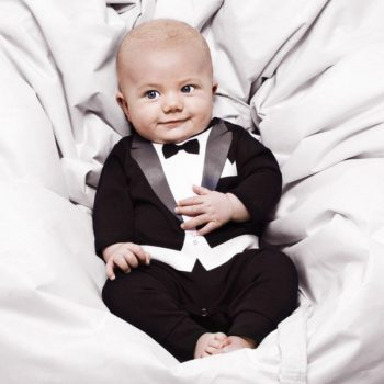THE TINY UNIVERSE Baby Boys Black 'The Tiny Suit' Babygrow