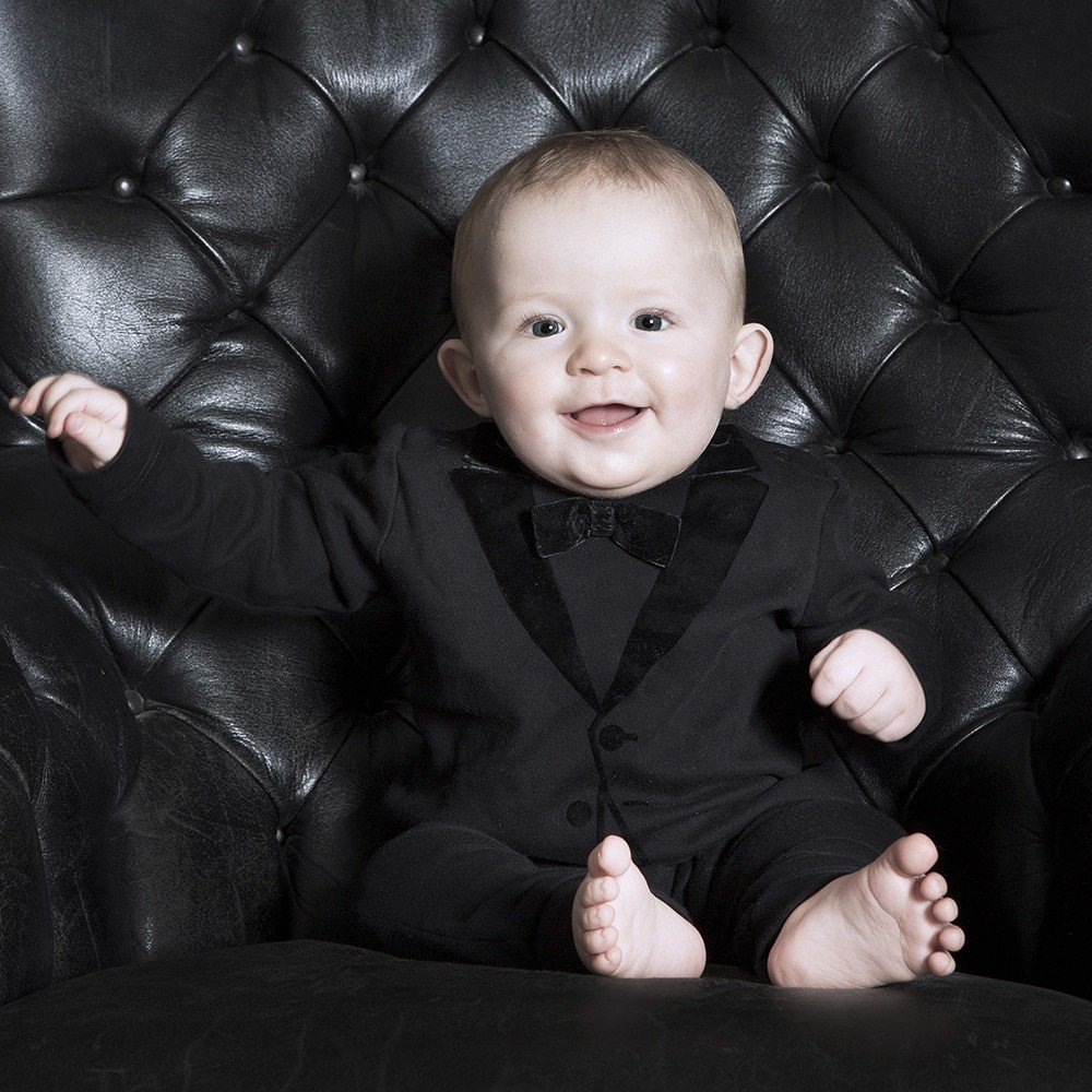 The Tiny Universe Baby Boys Black Tuxedo Romper