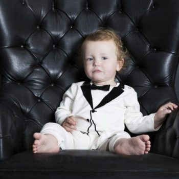 THE TINY UNIVERSE Baby Boys Ivory 'The Velvet Tuxedo' Babygrow