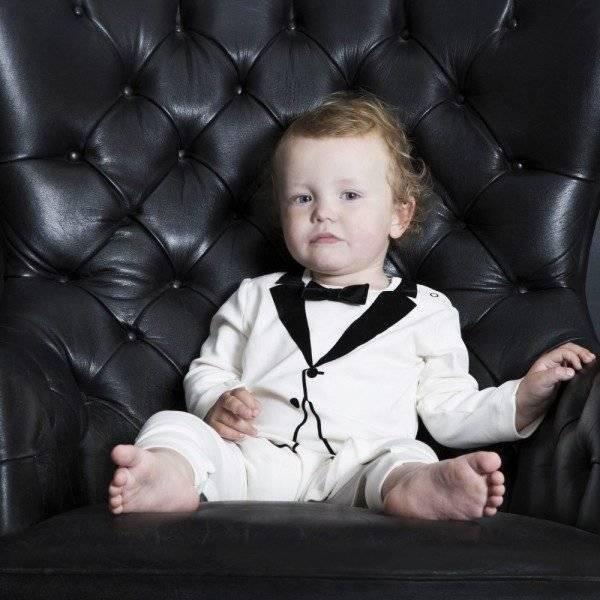 THE TINY UNIVERSE Baby Boys Ivory 'The Velvet Tuxedo' Babygrow