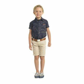 Trussardi Boys Navy Blue & Floral Short Sleeved Shirt