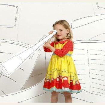 Poppy Yellow Cotton Boat Print 'Martha' Dress