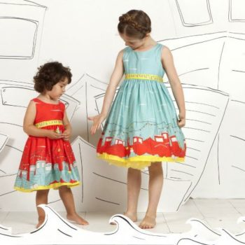 Poppy Blue Cotton Boat Print 'Martha' Dress