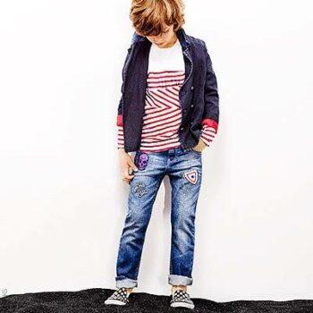 IKKS Boys Red White Striped Shirt & Jeans