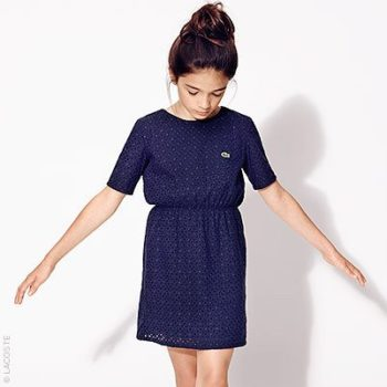 Lacoste Blue Broderie Anglaise Dress