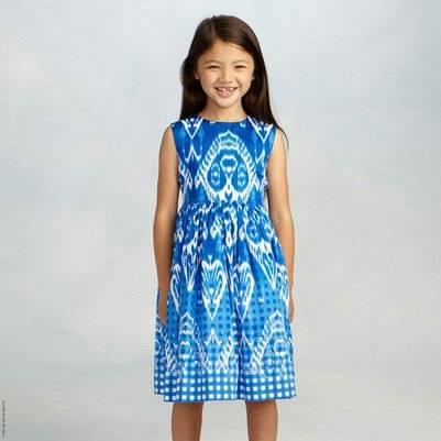 Oscar de la Renta Blue Gingham Ikat Cotton Dress
