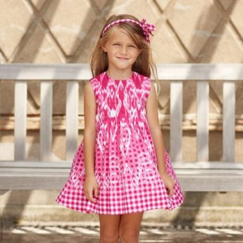 Oscar de la Renta Gingham Ikat Cotton Pink-Tuck Dress