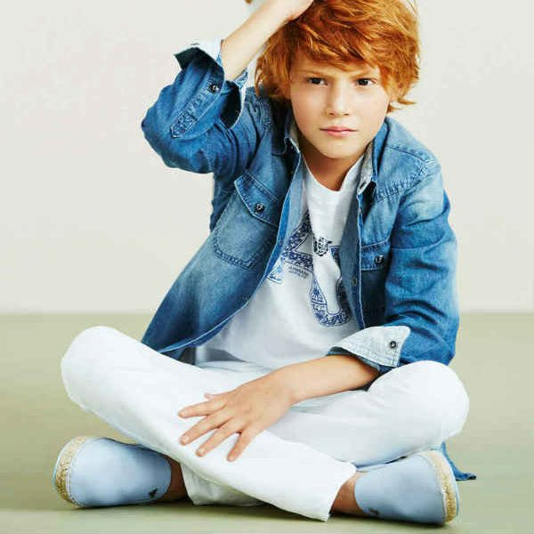 Armani Junior Boys Stone Washed Blue Jean Shirt