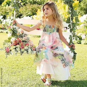 miss blumarine long silk smocked dress