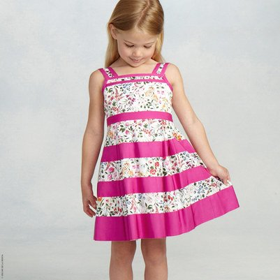 Oscar de la Renta Floral and Pink Striped Dress
