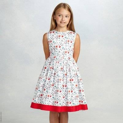oscar de la renta girls floral dress red ribbon