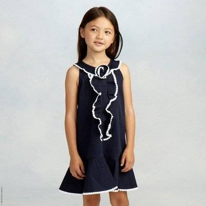 Oscar de la Renta Girls Navy Blue Frilled Dress
