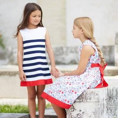 Oscar de la Renta Blue Striped Dress
