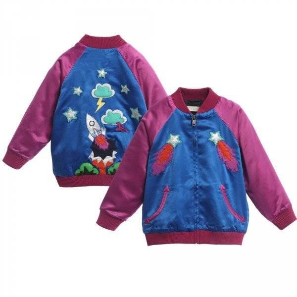 Stella McCartney Kids Girls Blue Pink Willow Bomber Jacket