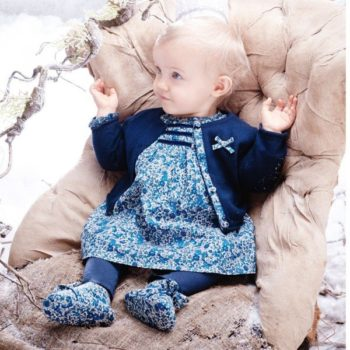ABSORBA Baby Girls Blue Liberty Print Dress