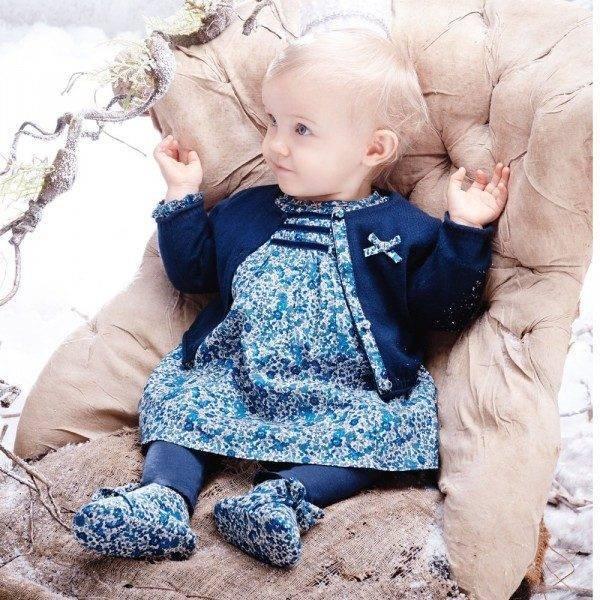 ABSORBA Baby Girls Blue Liberty Print Dress