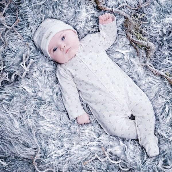 ABSORBA Ivory Organic Cotton Babygrow with Owl Print