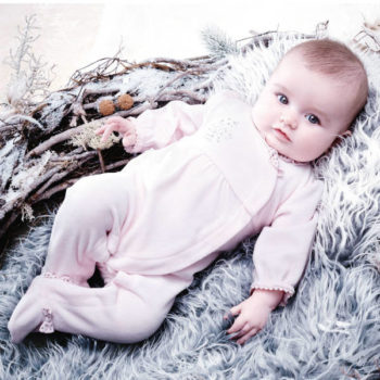 ABSORBABaby Girls Pink Velour Babygrow with Diamante Outfit