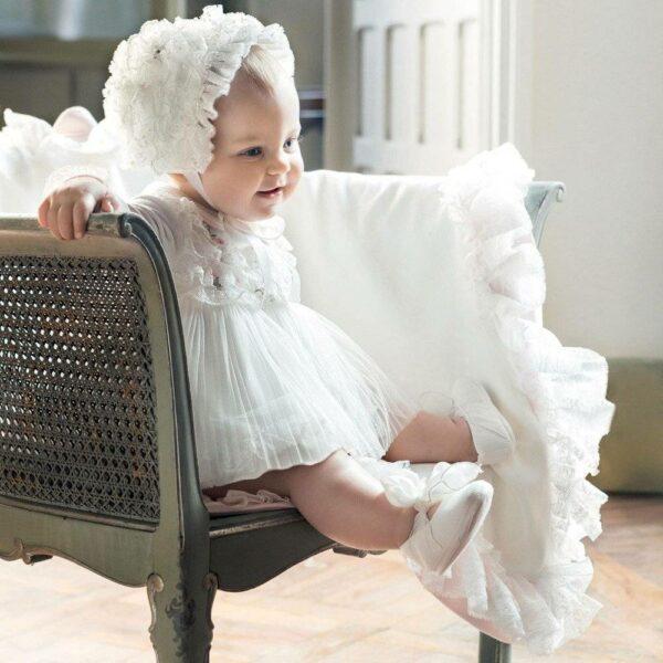 ALETTA Baby Girls Ivory Dress with Frills & Flowers