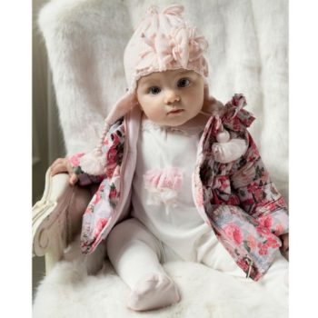 ALETTA Baby Girls Ivory & Pink Cotton Babygrow