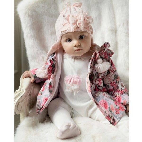 ALETTA Baby Girls Ivory & Pink Cotton Babygrow