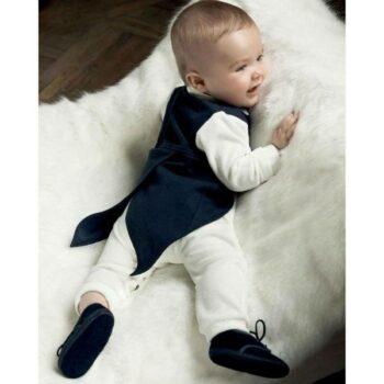 ALETTA Boys Ivory Babygrow with Navy Blue Waistcoat