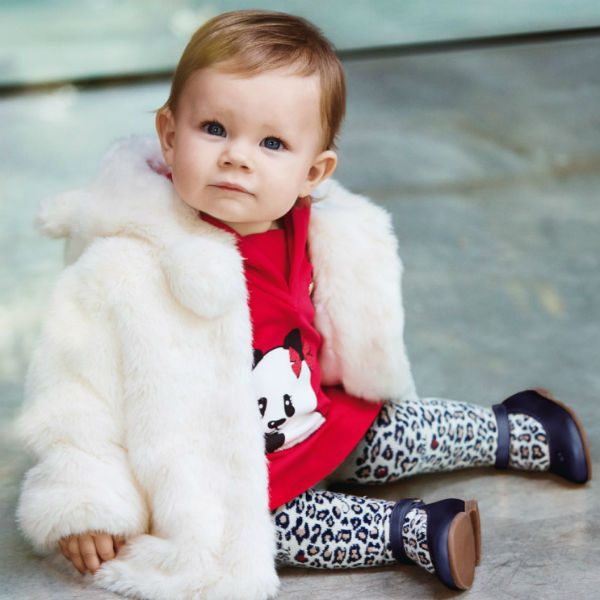 Armani Baby Girls Dark Pink Jersey Panda Dress
