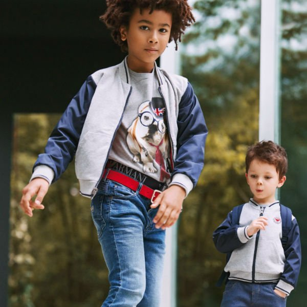 Armani Junior Boys Navy Blue Grey Reversible Varsity Jacket