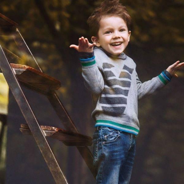 Armani Junior Boys Grey Logo Knitted Wool Sweater Green Stripe